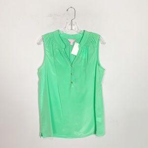Lilly Pulitzer seafoam green silk popover tank top
